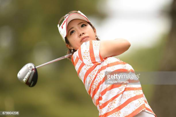 Kaori Oe of Japan hits her tee shot on the 2nd hole during the final round of the World Ladies Championship Salonpas Cup at the Ibaraki Golf Club on...