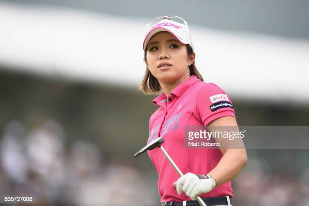 Kaori Ohe of Japan looks on during the final round of the CAT Ladies Golf Tournament HAKONE JAPAN 2017 at the Daihakone Country Club on August 20...