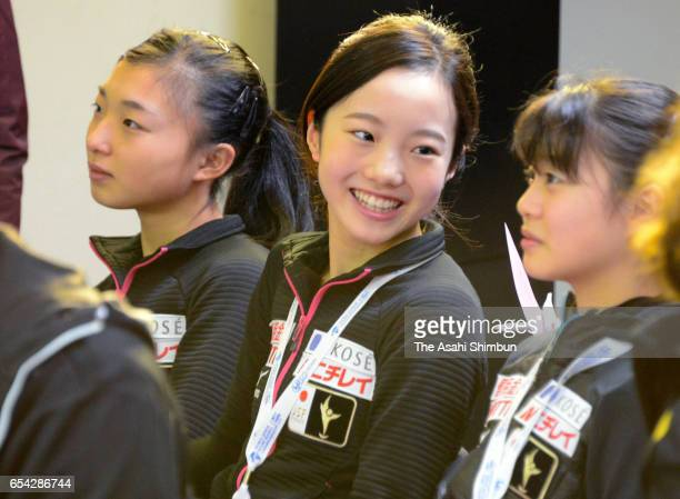 Kaori Sakamoto Marin Honda and Yuna Shiraiwa of Japan attend the Ladies Singles Draw during day two of the World Junior Figure Skating Championships...