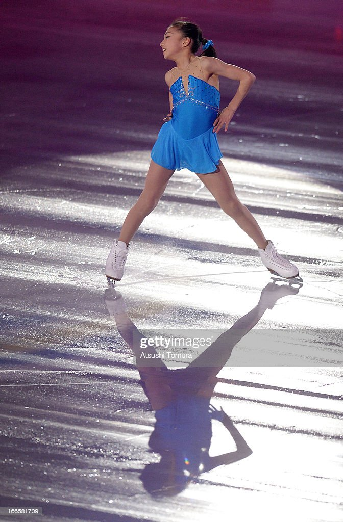 Kaori Sakamoto of Japan performs during day four of the ISU World Team Trophy at Yoyogi National Gymnasium on April 14, 2013 in Tokyo, Japan.