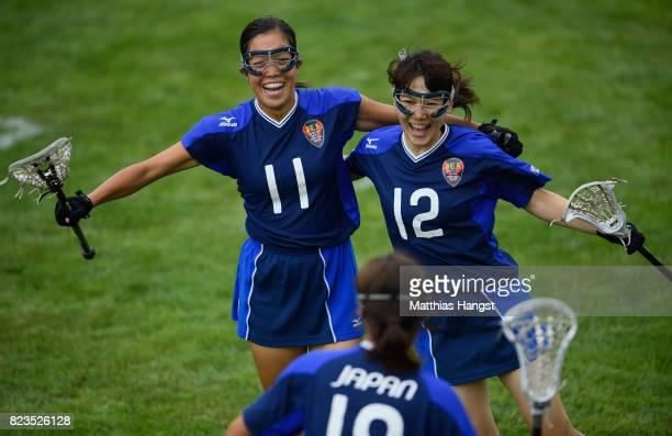 Kaoru Takemura and Kanako Sato of Japan celebrate during the Lacrosse Women's match between Great Britain and Japan of The World Games at Olawka...
