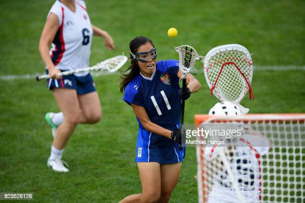 Kaoru Takemura of Japan scores her team's first goal during the Lacrosse Women's match between Great Britain and Japan of The World Games at Olawka...