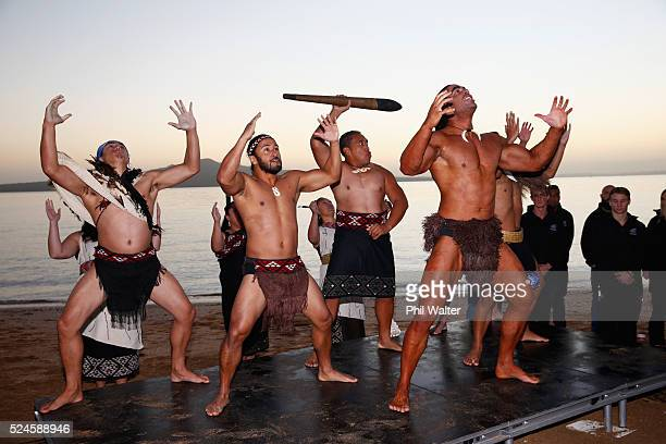 Kapa Haka maori cultural group welcomes the athletes on the road to the Rio Olympic Games during the Olympic Games 100 days countdown ceremony at...