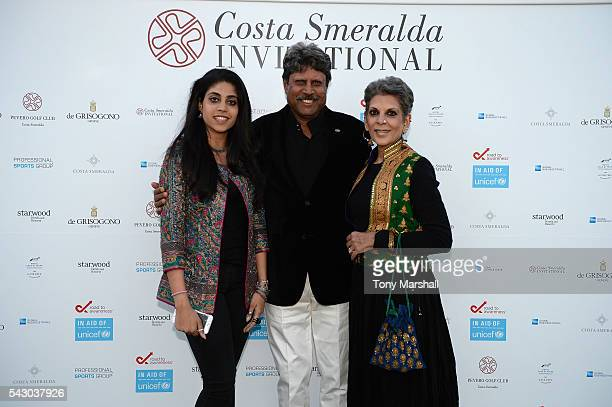 Kapil Dev Adhisaya Manithan and Amiya Dev attend the Gala Dinner during The Costa Smeralda Invitational golf tournament at Pevero Golf Club Costa...