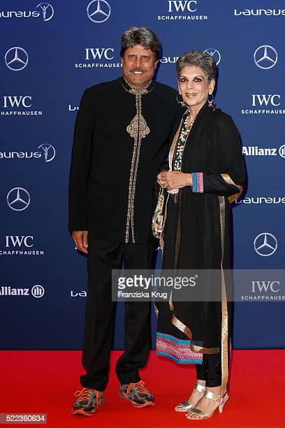 Kapil Dev and Romi Dev attend the Laureus World Sports Awards 2016 at the Messe Berlin on April 18 2016 in Berlin Germany