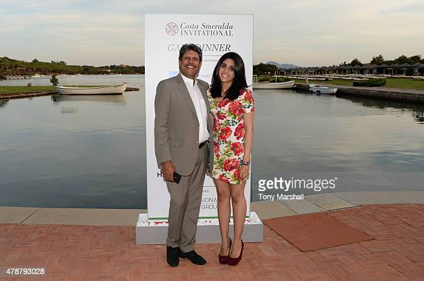 Kapil Dev arrives at the Gala Dinner following The Costa Smeralda Invitational Golf Tournament at Pevero Golf Club Costa Smeralda on June 27 2015 in...