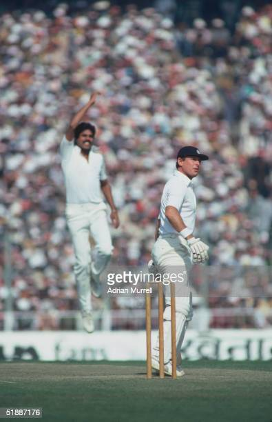 Kapil Dev bowling for India during the Fourth Test against England at Calcutta during the England tour of India January 1982 Dev shows his jubilance...