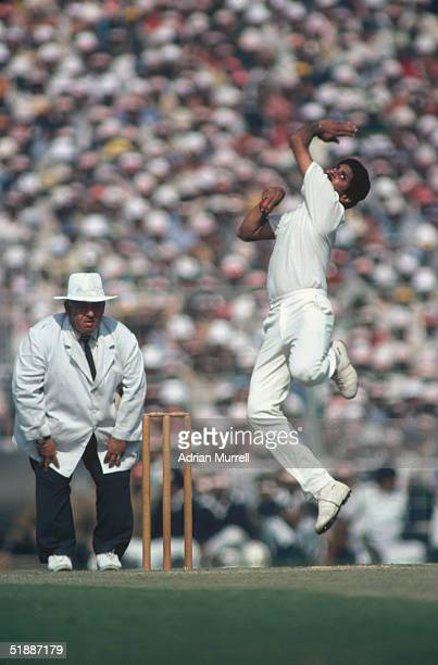 Kapil Dev bowling for India during the Fourth Test against England at Calcutta during the England tour of India January 1982