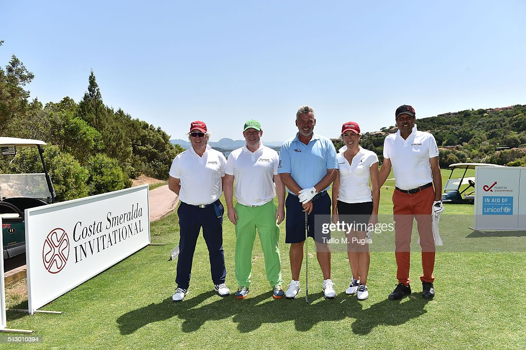 Kapil Dev, Campbell Steedman, Scott Davies, Silvia Valli and Darren Clarke pose during The Costa Smeralda Invitational golf tournament at Pevero Golf Club - Costa Smeralda on June 25, 2016 in Olbia, Italy.