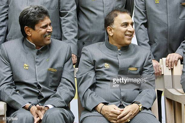 Kapil Dev captain of the 1983 World Cup winning Indian cricket team and Sunil Gavaskar speak to media at Lords Cricket ground in London on June 25...