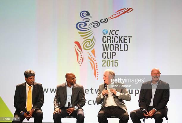 Kapil Dev former Indian ICC Cricket World Cup Captain Sanath Jayasuriya former Sri Lankan Captain Ian Chappell former Australian captain and former...