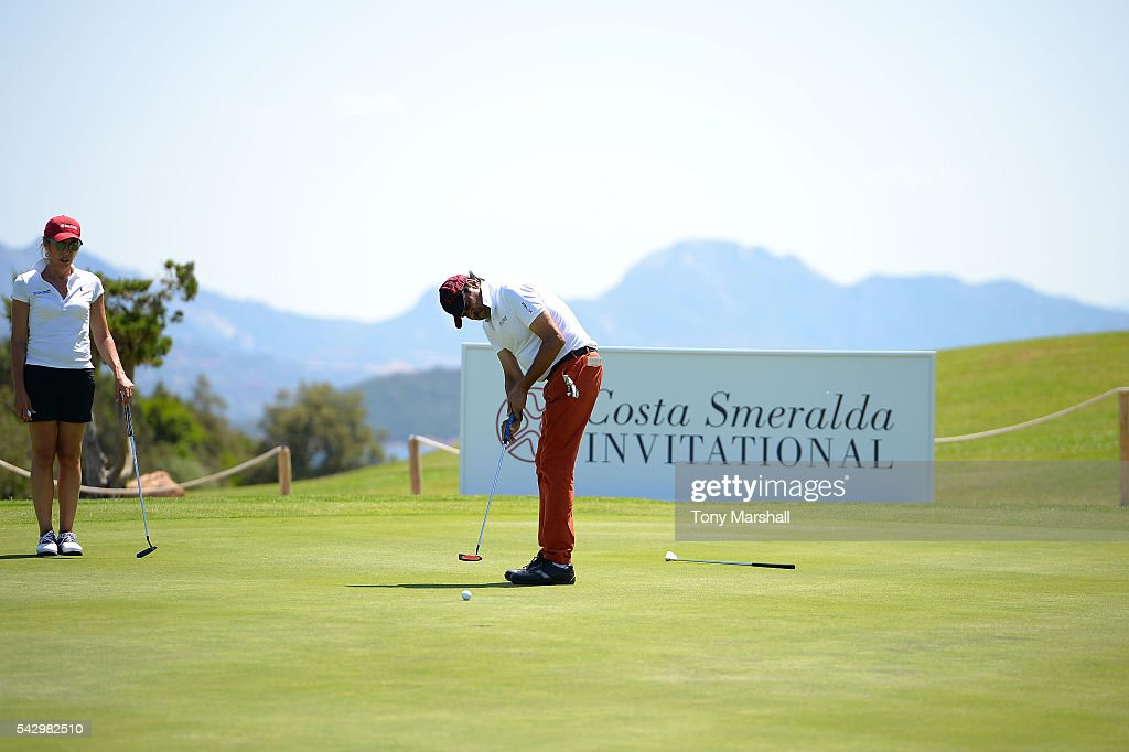 Kapil Dev tees off during The Costa Smeralda Invitational golf tournament at Pevero Golf Club - Costa Smeralda on June 25, 2016 in Olbia, Italy.