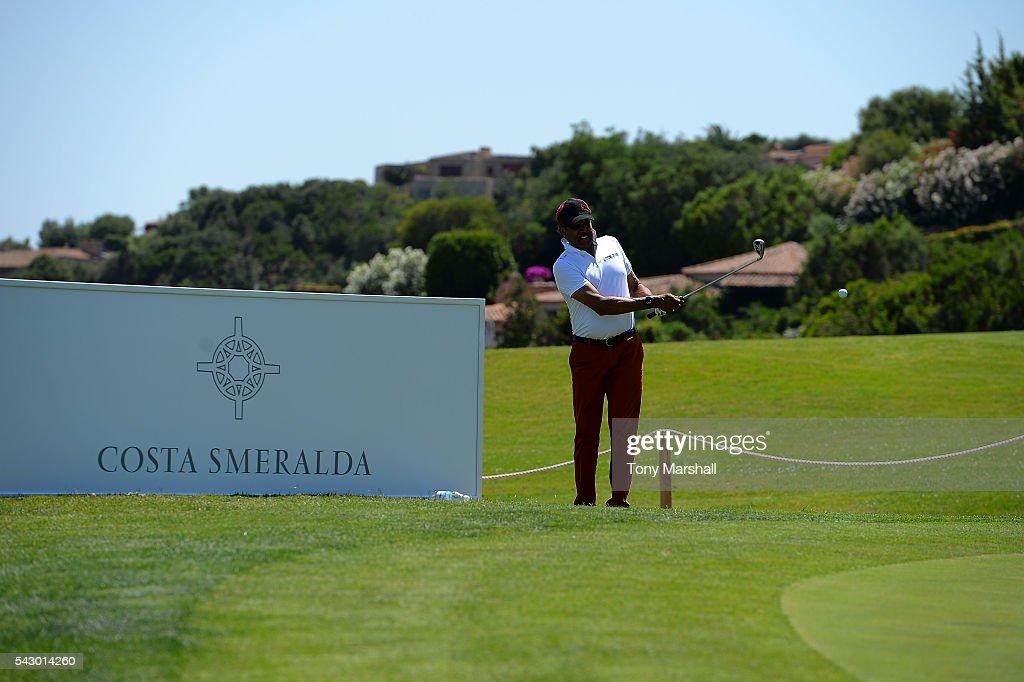 Kapil Dev tees off during The Costa Smeralda Invitational golf tournament at Pevero Golf Club - Costa Smeralda on June 25, 2016 in Olbia, Italy.