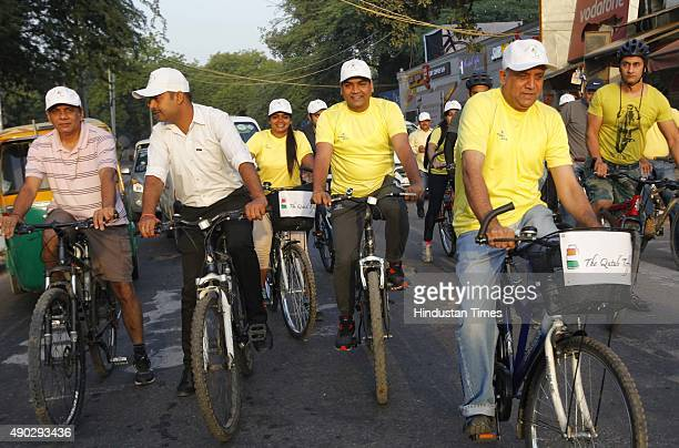 Kapil Mishra Minister for Tourism of Delhi Govt participates in the Cycle Tour covering Mehrauli heritage zone on world Tourism day on September 27...