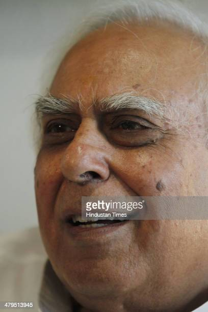 Kapil Sibal Congress candidate from Chandni Chowk Lok Sabha constituency for the 2014 Lok Sabha election at his residence on March 19 2014 in New...
