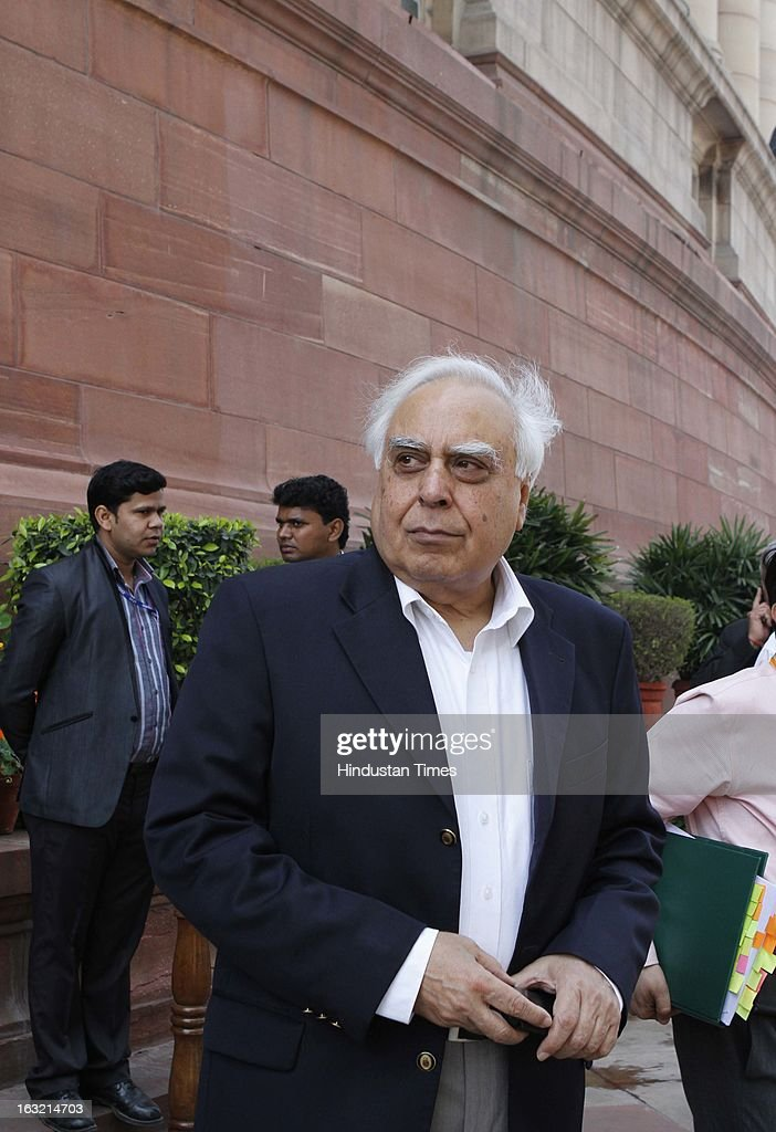 Kapil Sibal Union minister for Communication and IT at ongoing Budget session of Parliament House on March 06, 2013 in New Delhi, India. In his speech in the Lok Sabha the PM Manmohan Singh today hit out at BJP for trying to belittle UPA government's achievements saying the party will fail at the hustings next year like it did in 2004 and 2009.