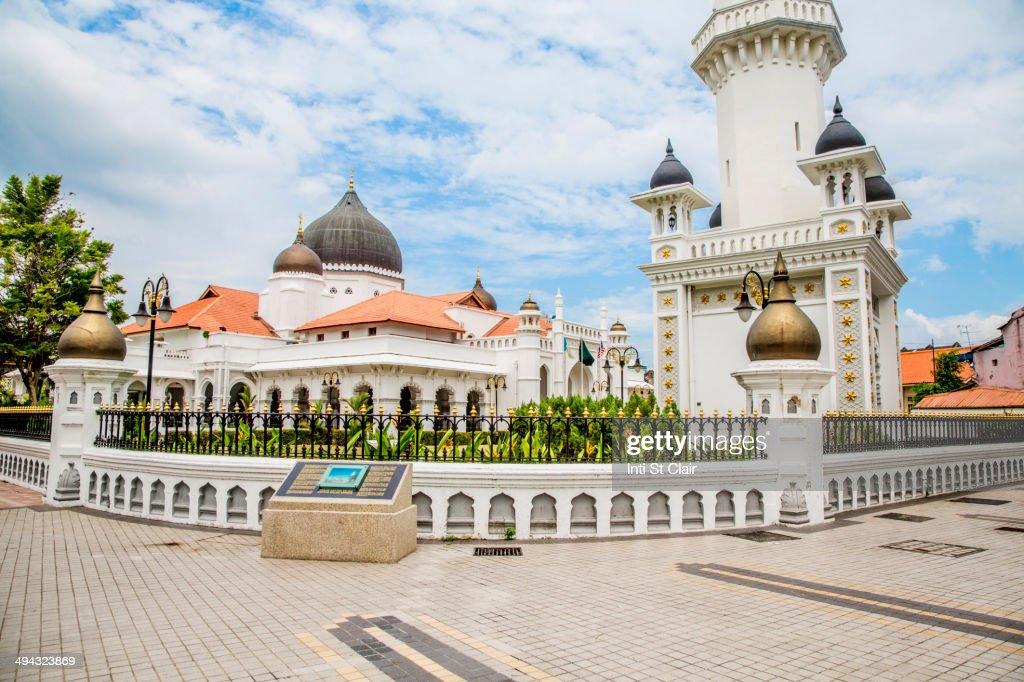 Kapitan Keling Mosque under blue sky, George Town, Penang, Malaysia : Stock Photo