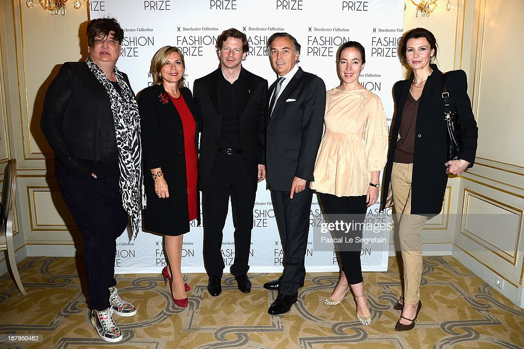 Kappauf (L), Isabelle Maurin, Lorenz Baumer, Francois Delahaye, Pamela Golbin and Anne Vogt-Bordure (R) attend the 2013 Launch of the Dorchester Collection Fashion Prize 2013 at Hotel Plaza Athenee on May 3, 2013 in Paris, France.