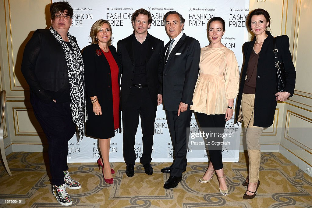 Kappauf, Isabelle Maurin, Lorenz Baumer, Francois Delahaye, Pamela Golbin and Anne Vogt-Bordure attend the 2013 Launch of the Dorchester Collection Fashion Prize 2013 at Hotel Plaza Athenee on May 3, 2013 in Paris, France.