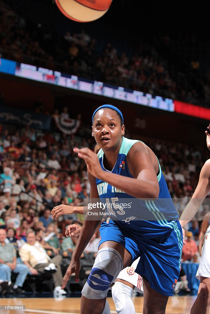 <a gi-track='captionPersonalityLinkClicked' href=/galleries/search?phrase=Kara+Braxton&family=editorial&specificpeople=226695 ng-click='$event.stopPropagation()'>Kara Braxton</a> #45 of the New York Liberty chases a loose ball against the Connecticut Sun during a game at the Mohegan Sun Arena on August 25, 2013 in Uncasville, Connecticut.