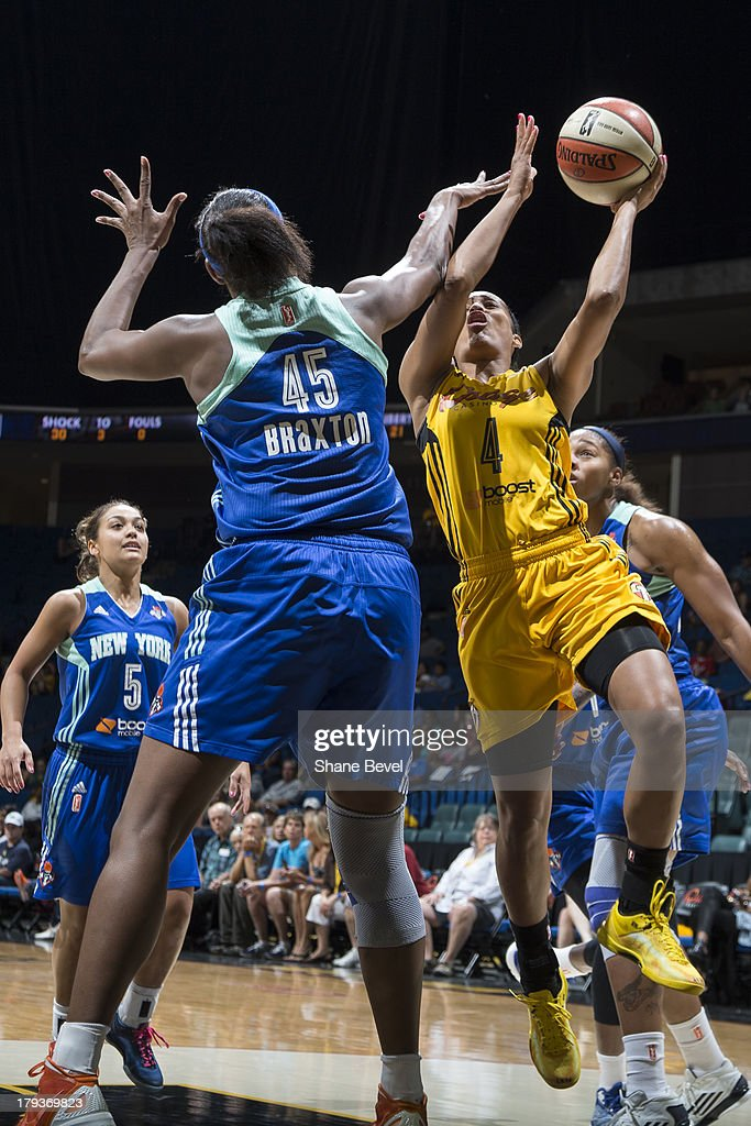 Kara Braxton # 45 of the New York Liberty defends Skylar Diggins # 4 of the Tulsa Shock during the WNBA game on September 1, 2013 at the BOK Center in Tulsa, Oklahoma.