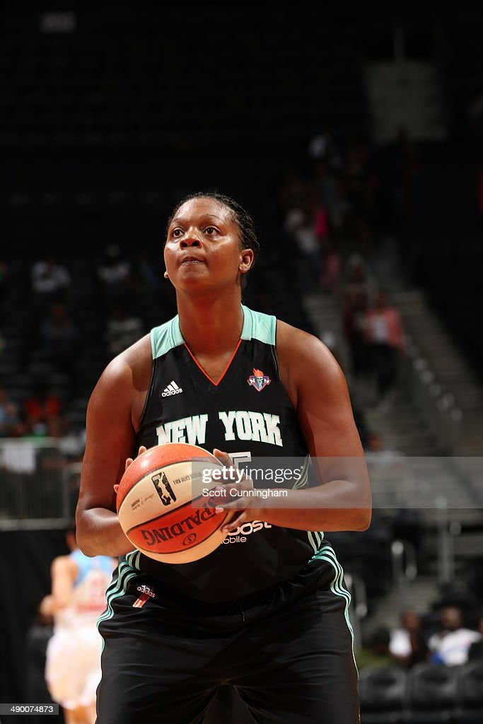 Kara Braxton #45 of the New York Liberty shoots a foul shot against the Atlanta Dream at Philips Arena on May 11, 2014 in Atlanta, Georgia.