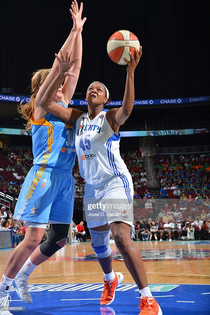 <a gi-track='captionPersonalityLinkClicked' href=/galleries/search?phrase=Kara+Braxton&family=editorial&specificpeople=226695 ng-click='$event.stopPropagation()'>Kara Braxton</a> #45 of the New York Liberty shoots against the Chicago Sky during the game on July 18, 2013 at Prudential Center in Newark, New Jersey.