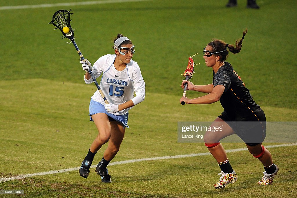 Kara Cannizzaro #15 of the North Carolina Tar Heels runs with the ball against the Maryland Terrapins during the finals of the 2012 Women's ACC Tournament at Koskinen Stadium on April 23, 2012 in Durham, North Carolina.