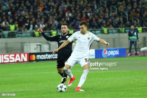 Kara Karayev of Qarabag in action against Stephan El Shaarawy of AS Roma during the UEFA Champions League Group C football match between Qarabag FK...