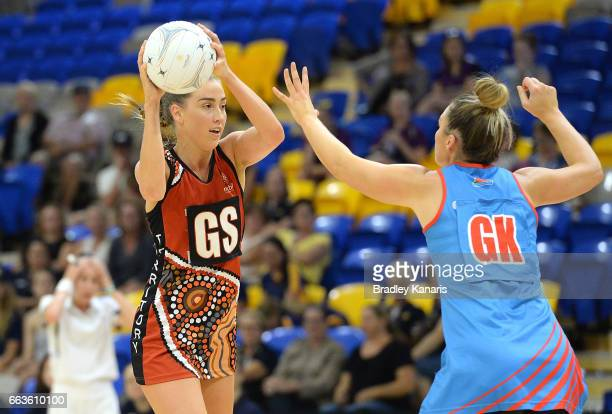 Kara Koenen of the Storm looks to pass during the round seven Australian Netball League match between the Storm and the Waratahs at University of the...