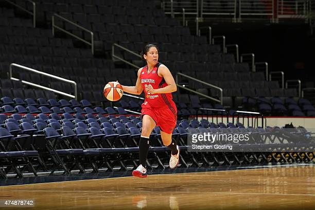 Kara Lawson of the Washington Mystics drives against the Minnesota Lynx during an Analytic Scrimmage at the Verizon Center on May 26 2015 in...