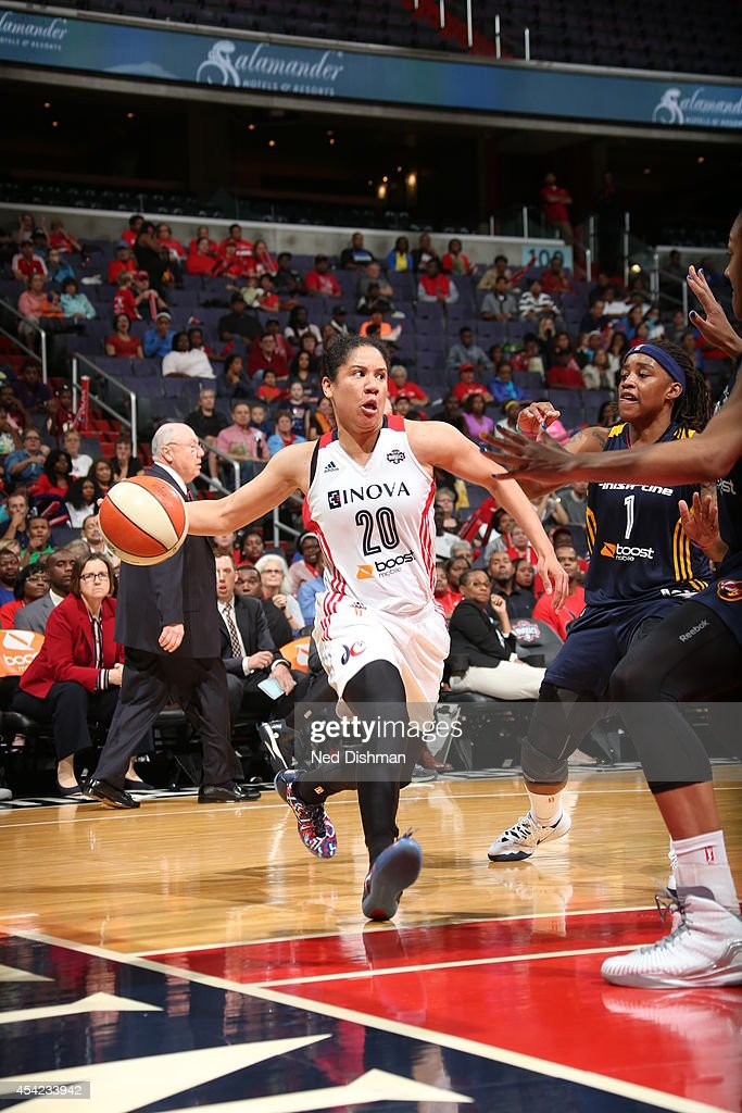 Kara Lawson #20 of the Washington Mystics drives to the basket against the Indiana Fever in Game Two of the Eastern Conference Semifinals during the 2014 WNBA Playoffs on August 23, 2014 at the Verizon Center in Washington, DC.