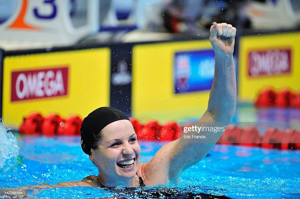 <a gi-track='captionPersonalityLinkClicked' href=/galleries/search?phrase=Kara+Lynn+Joyce&family=editorial&specificpeople=221678 ng-click='$event.stopPropagation()'>Kara Lynn Joyce</a> reacts after the 50m Freestyle during day eight of the 2012 U.S. Olympic Swimming Team Trials at the CenturyLink Center July 2, 2012 in Omaha, Nebraska. Joyce's second place secured her spot on the U.S. Olympic swimming team.