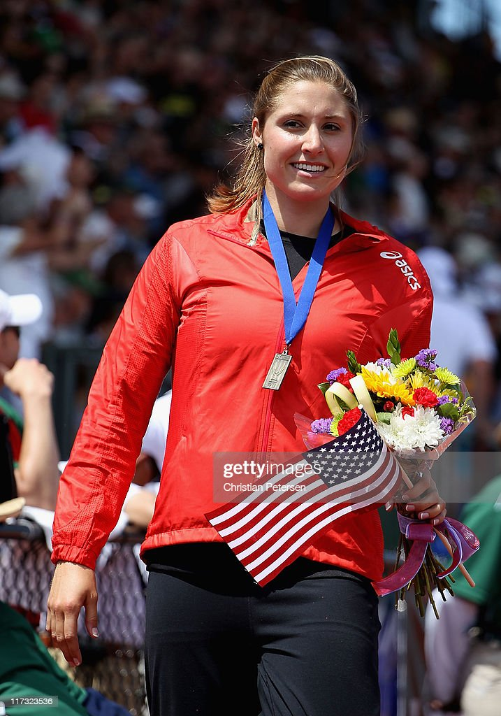 Kara Patterson reacts after winning the Women's javelin throw on day three of the USA Outdoor Track & Field Championships at the Hayward Field on June 25, 2011 in Eugene, Oregon.