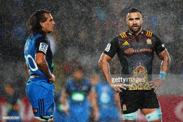 Kara Pryor of the Blues and Liam Messam of the Chiefs look on after the match ended in a draw during the round 14 Super Rugby match between the Blues...