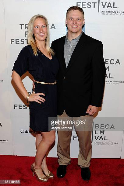 Kara Purdum and NFL player Tanner Purdum attend the premiere of 'Catching Hell' during the 2011 Tribeca Film Festival at BMCC Tribeca PAC on April 23...