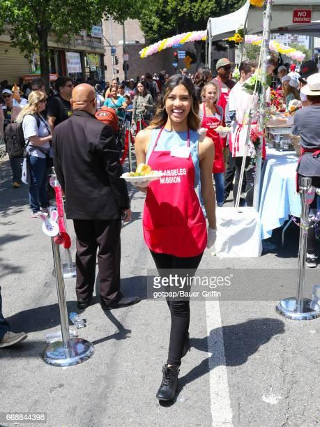 Kara Royster is seen attending Los Angeles Mission's Easter Celebration at Los Angeles Mission on April 14 2017 in Los Angeles California
