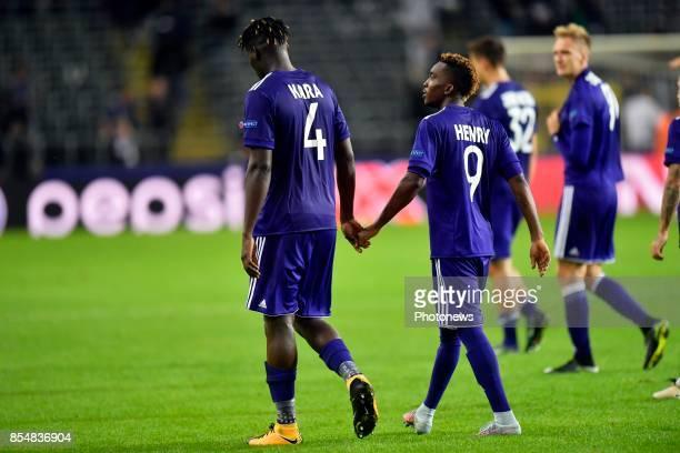 Kara Serigne Modou Mbodji defender of RSC Anderlecht and Henry Onyekuru forward of RSC Anderlecht shows look dejected on the final whistle after the...