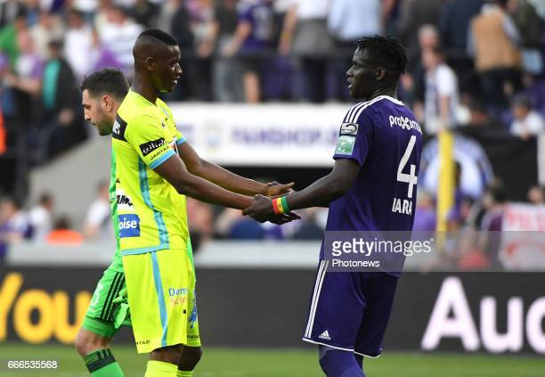 Kara Serigne Modou Mbodji defender of RSC Anderlecht and Kalifa Coulibaly forward of KAA Gent pictured during play off 1 of Jupiler Pro League match...