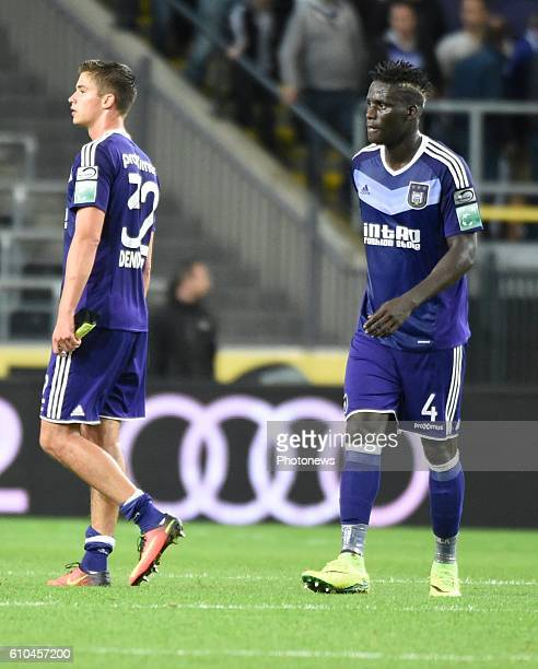 Kara Serigne Modou Mbodji defender of RSC Anderlecht and Leander Dendoncker midfielder of RSC Anderlecht looks dejected pictured during Jupiler Pro...