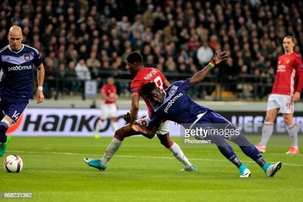 Kara Serigne Modou Mbodji defender of RSC Anderlecht and Marcus Rashford of Manchester United pictured during UEFA Europa League quarter final first...
