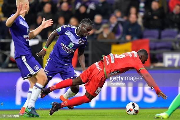 Kara Serigne Modou Mbodji defender of RSC Anderlecht makes a penalty fault on Landry Nany Dimata forward of KV Oostende during the Jupiler Pro League...
