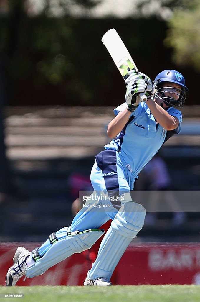 Kara Sutherland of the Breakers plays a shot during the WNCL match between the South Australia Scorpions and the New South Wales Breakers at Prospect Oval on December 22, 2012 in Adelaide, Australia.
