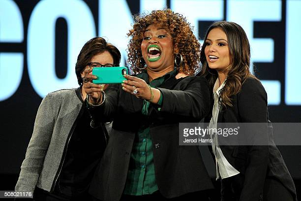 Kara Swisher GloZell Green and Bethany Mota attend AOL MAKERS Conference at Terranea Resort on February 2 2016 in Rancho Palos Verdes California