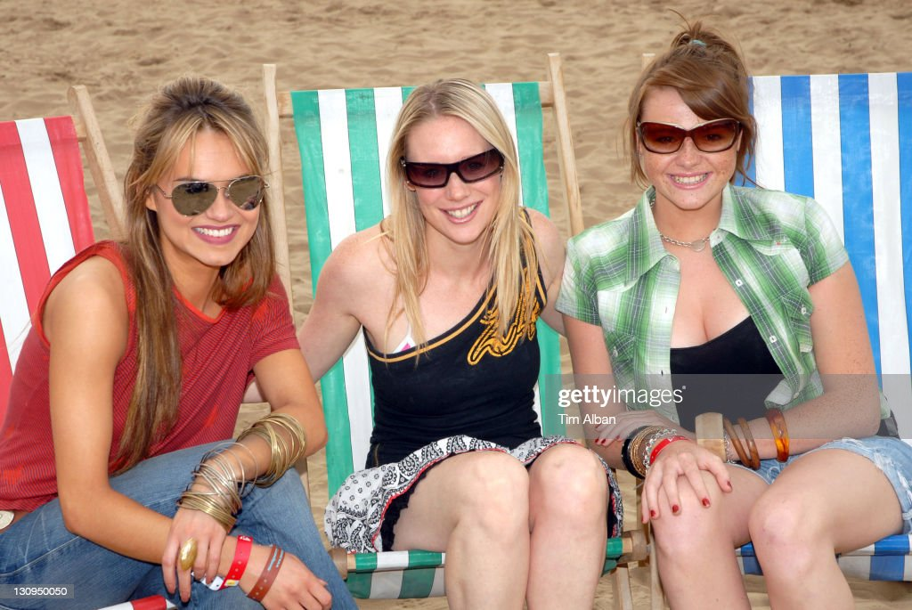 Kara Tointon and Kellie Shirley during T4 on the Beach June 18 2006 in WestonSuperMare Great Britain