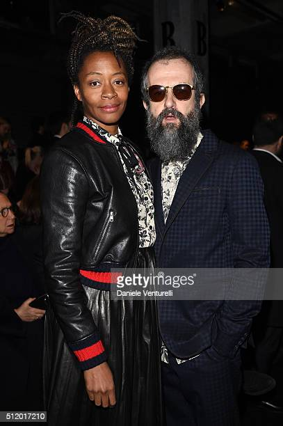 Kara Walker and Ari Marcopoulos attend the Gucci show during Milan Fashion Week Fall/Winter 2016/17 on February 24 2016 in Milan Italy