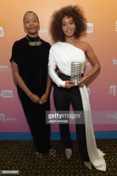 Kara Walker and Solange Knowles attend the The 21st Annual Webby Awards at Cipriani Wall Street on May 15 2017 in New York City