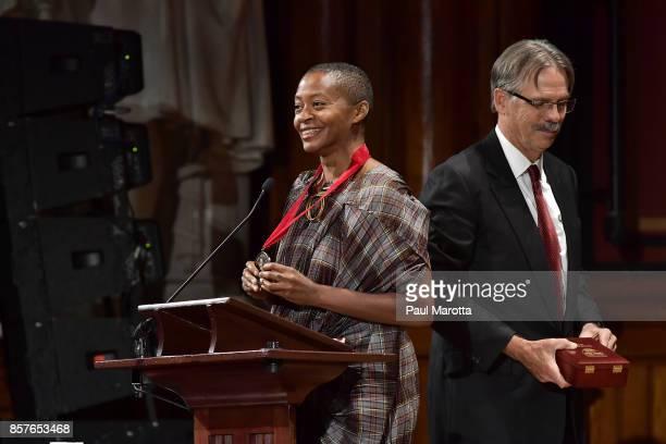 Kara Walker was one of eight recipients of the 2017 WEB DuBois Medal at Harvard University's Sanders Theatre on October 4 2017 in Cambridge...