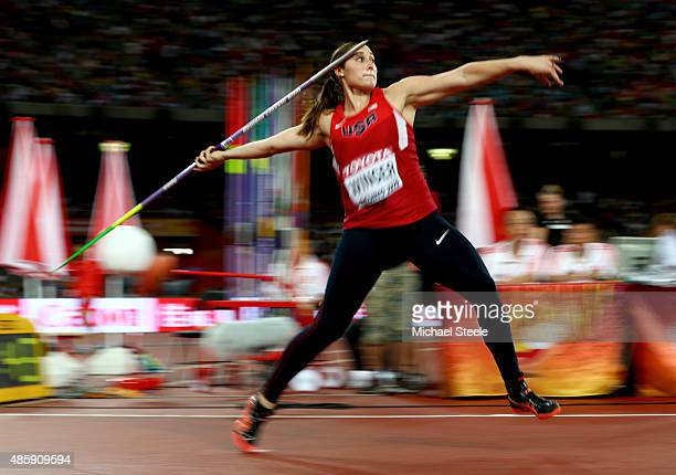 Kara Winger of the United States competes in the Women's Javelin final during day nine of the 15th IAAF World Athletics Championships Beijing 2015 at...
