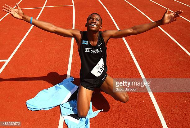 Karabo Sibanda of Botswana celebrates as he wins the Boys 400 Metre Final during the Athletics at the Apia Park Sports Complex on day two of the...